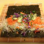 the beginnings of a delicious Raw Nori Roll!